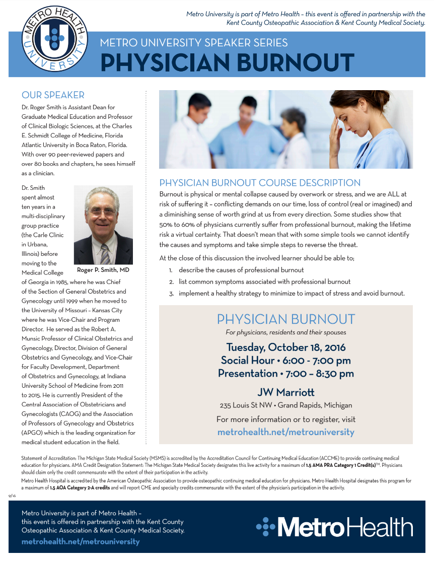 Metro University Speaker Series • Physician Burnout – KCMS